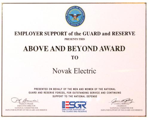 ESGR Above and Beyond Award